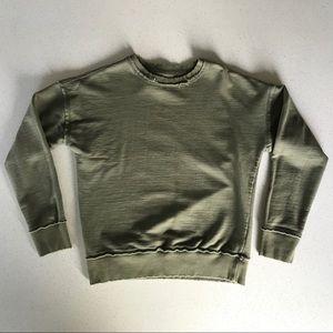 Olive raw edge sweatshirt